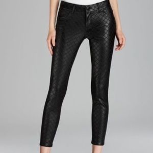 Aqua faux leather quilted pants